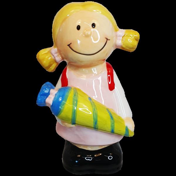 Einschulung Mädchen mit Zuckertüte Spardose AV Andreaverlag, andrea-geschenke.de