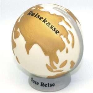 hochwertige Spardose: Weltkugel Reisekasse Traumreise, aus Keramik in Hochglanz Optik, Sparbüchse als Geldgeschenk Geburtstagsgeschenk Urlaub Reise Globus