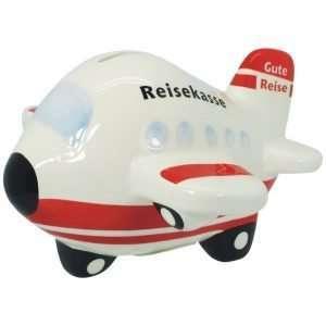 Spardose Sparbüchse Sparschwein Flugzeug Reisekasse