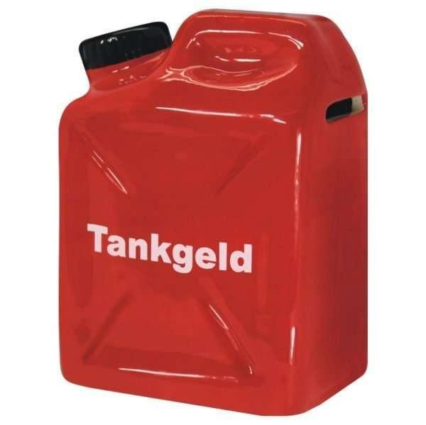 60149 hochwertige Spardose: Benzinkanister Tankgeld, aus Keramik, für die Benzinkasse zum Geburtstag Sparschwein Sparbüchse als Geldgeschenk Geburtstagsgeschenk