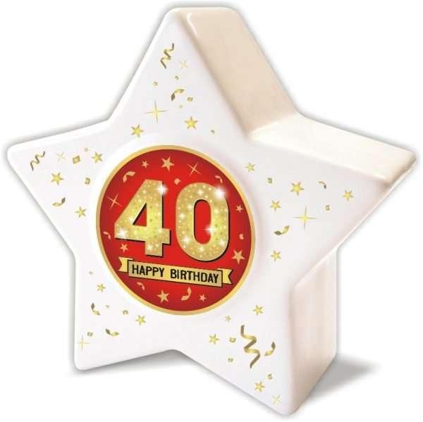 Spardose: Stern zum 40 Geburtstag, Happy Birthday