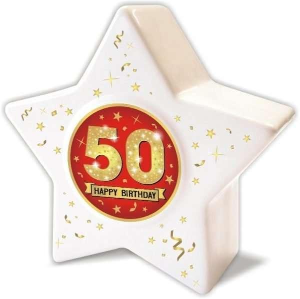 Spardose: Stern zum 50 Geburtstag, Happy Birthday