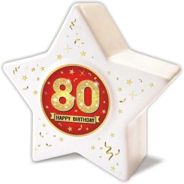 Spardose: Stern zum 80 Geburtstag, Happy Birthday