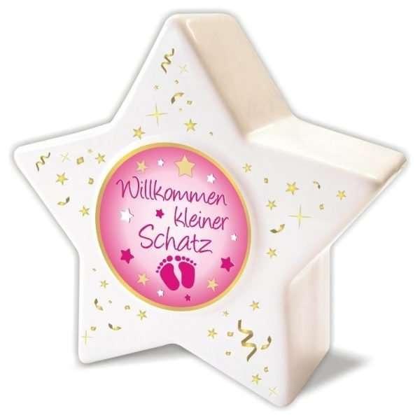 60188 - Spardose Sparbüchse Sparschwein Stern Zur Geburt für Mädchen, kleiner Schatz