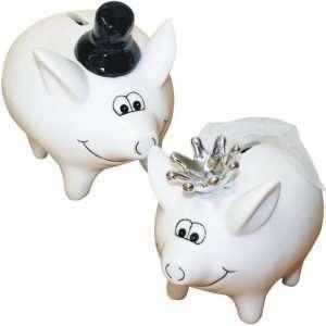 60501 kleine Sparschweine Hochzeitspaar mit Krone, Schleier und Zylinder aus Keramik Hochglanz Optik Sparbüchse als Geldgeschenk Hochzeitsgeschenk zur Hochzeit
