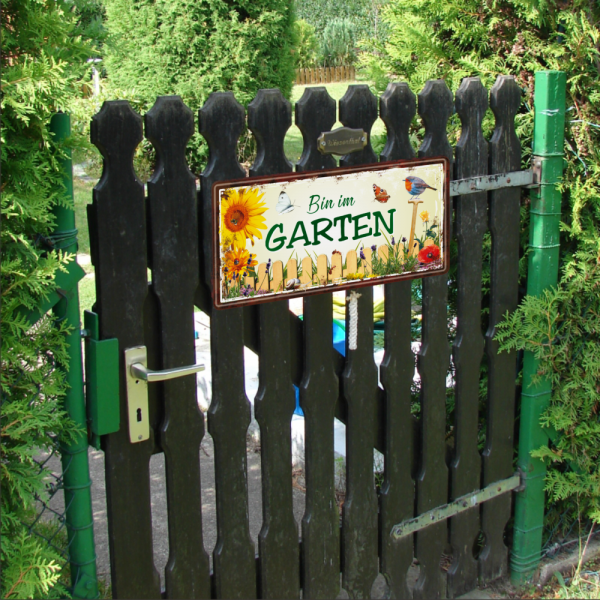 Bin-im-Garten-Metallschild-Blechschild-Schild-Tuerschild-Geschenkidee-Gaertner-2-AV-Andrea-Verlag-andrea-geschenke.de