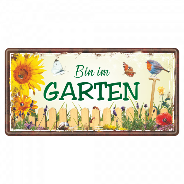 Bin-im-Garten-Metallschild-Blechschild-Schild-Tuerschild-Geschenkidee-Gaertner-AV-Andrea-Verlag-andrea-geschenke.de
