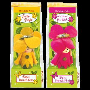 Blumen-Maedchen-mit-Schokopraline-zweier-Set-gelb-pink-verpackt-zum-Verschenken-zum-Osterfest-fuer-die-Gaertnerin-zum-Geburtstag-AV-Andrea-Verlag-andrea-verlag.de