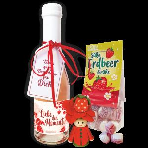 Erdbeersecco-Erdbeergeschenk-Liebe-den-Moment-Muttertag-Mutti-Oma-Lieblingsmensch-Freundin-Dekoration-Home-andrea-geschenke.de