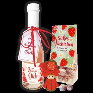 Erdbeersecco-Erdbeergeschenk-Zeit-fuer-Dich-Muttertag-Mutti-Oma-Lieblingsmensch-Freundin-Dekoration-Home-andrea-geschenke.de