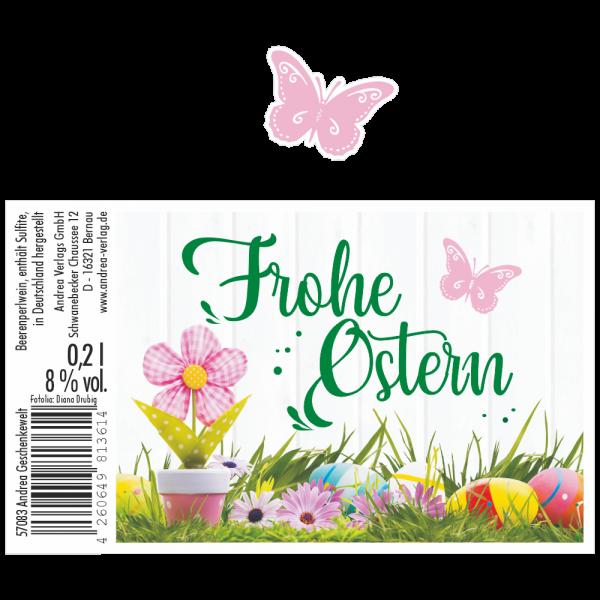 Frohe-Ostern-Blumen-rosa-Piccolo-Beeren-Perlwein-4-Motive-Etikett-AV-Andrea-Verlag-andrea-geschenke.de