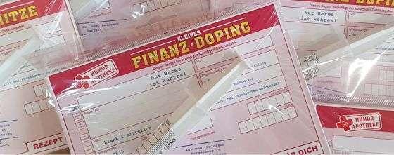 Geldgeschenk Glückwunschkarte Grußkarte Karte Humormedizin Humorapotheke XXL große kleine Finanzspritze Finanzdoping Finanz Spritze Doping AV Andreaverlag andrea-geschenke.de