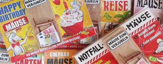 Geldgeschenk Glückwunschkarte Grußkarte Karte Mausfalle Mäuse AV Andreaverlag andrea-geschenke.de