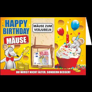 Geschenkkarte-Mausefalle-Glueckwunschkarte-Geldgeschenk-Happy-Birthday-AV-Andrea-Verlag-andrea-geschenke.de