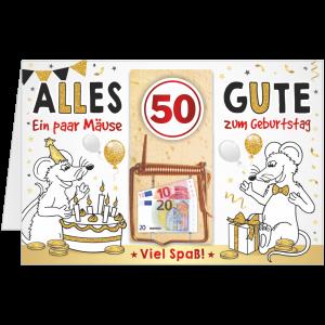 Geschenkkarte-Mausefalle-Glueckwunschkarte-Geldgeschenk-fuenfzig-AV-Andrea-Verlag-andrea-geschenke.de