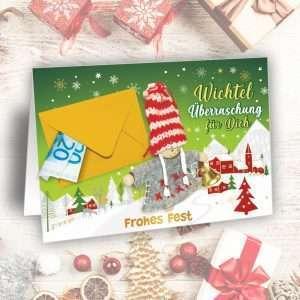 Glückwunschkarte Weihnachtskarte - Wichtel Überraschung - als Geldgeschenk zu Weihnachten als Wunscherfüller fürs Fest als Weihnachtsgeschenk AV Andrea Verlag andrea-geschenke.de mit Folientüte