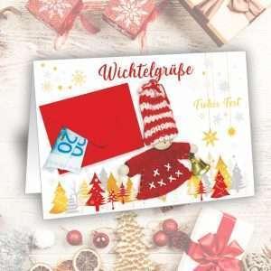 Glückwunschkarte Weihnachtskarte - Wichtelgrüße - als Geldgeschenk zu Weihnachten als Wunscherfüller fürs Fest als Weihnachtsgeschenk AV Andrea Verlag andrea-geschenke.de mit Folientüte