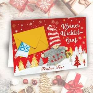 Glückwunschkarte Wichtel Weihnachtskarte - Kleine Wichtel Überraschung - als Geldgeschenk zu Weihnachten als Wunscherfüller fürs Fest als Weihnachtsgeschenk AV Andrea Verlag andrea-geschenke.de
