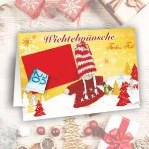 Glückwunschkarte Wichtel Weihnachtskarte - Wichtelwünsche - als Geldgeschenk zu Weihnachten als Wunscherfüller fürs Fest als Weihnachtsgeschenk AV Andrea Verlag andrea-geschenke.de