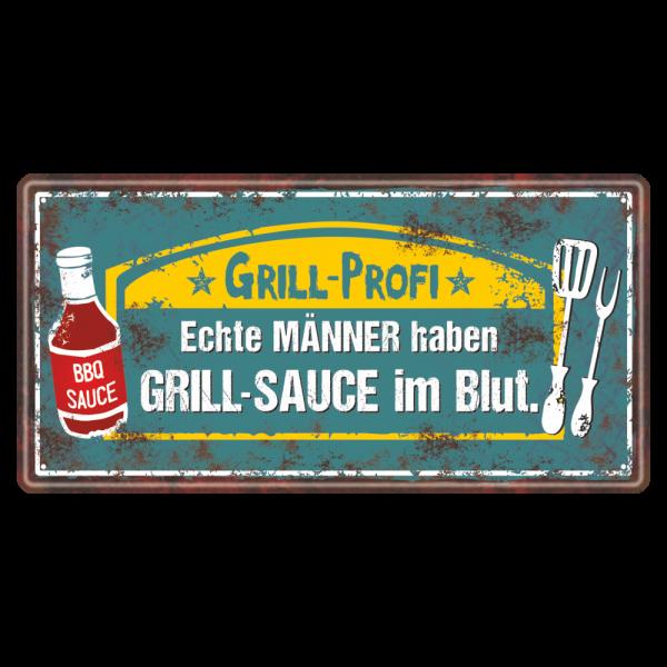 Grillprofi-Grillsauce-im-Blut-Metallschild-Blechschild-Schild-Geschenkidee-Grillen-AV-Andrea-Verlag-andrea-geschenke.de