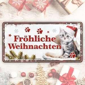 Großes Blechschild Metallschild – Fröhliche Weihnachten – als Geschenk zu Weihnachten Weihnachtsgeschenk Schild Türschild lustiger Spruch Vintage Deko Retro Look rostfrei andrea-geschenke.de