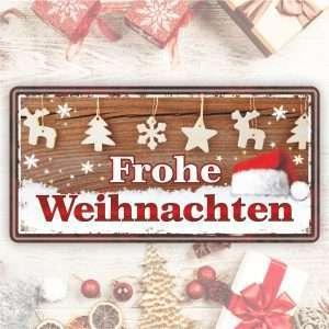 Großes Blechschild Metallschild – Frohe Weihnachten, braun – als Geschenk zu Weihnachten Weihnachtsgeschenk Schild Türschild lustiger Spruch Vintage Deko Retro Look rostfrei andrea-geschenke.de
