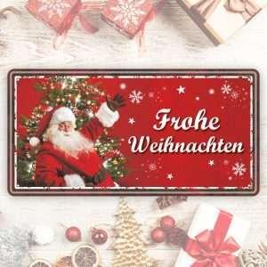 Großes Blechschild Metallschild – Frohe Weihnachten, rot – als Geschenk zu Weihnachten Weihnachtsgeschenk Schild Türschild lustiger Spruch Vintage Deko Retro Look rostfrei andrea-geschenke.de