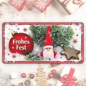 Großes Blechschild Metallschild – Frohes Fest – als Geschenk zu Weihnachten Weihnachtsgeschenk Schild Türschild lustiger Spruch Vintage Deko Retro Look rostfrei andrea-geschenke.de