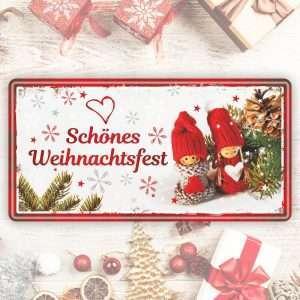 Großes Blechschild Metallschild - Schönes Weihnachtsfest – als Geschenk zu Weihnachten Weihnachtsgeschenk Schild Türschild lustiger Spruch Vintage Deko Retro Look rostfrei andrea-geschenke.de