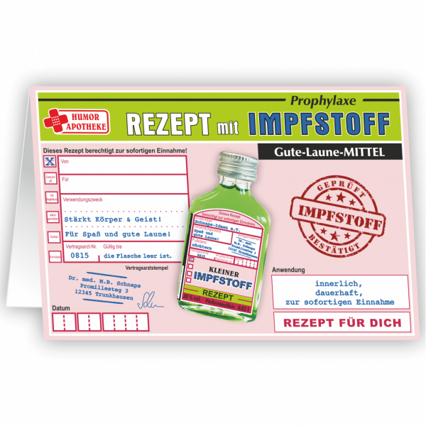 Impfstoff-Rezeptkarte-Glueckwunschkarte-Karte-mit-Likoer-Pfefferminzlikoer-Humorapotheke-andrea-verlag.de_