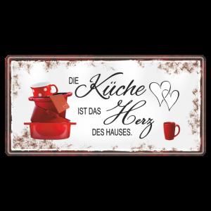 Kueche-ist-das-Herz-Metallschild-Blechschild-Schild-Kuechenschild-Geschenkidee-AV-Andrea-Verlag-andrea-geschenke.de