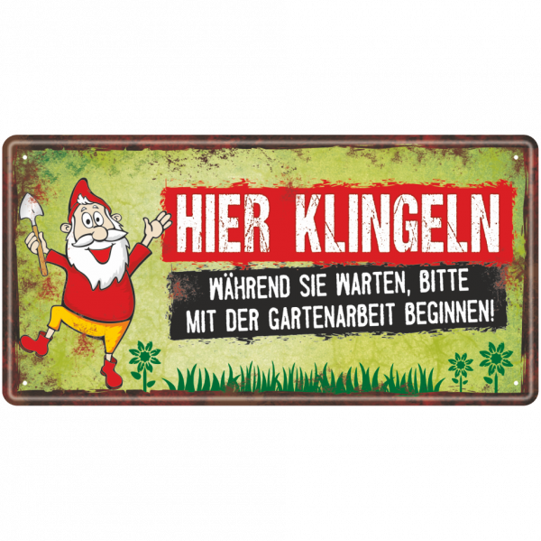 Metallschild-Blechschild-Gartenzwerg-Garten-Gartenschild-Hinweisschild-Gaertner-AV-Andrea-Verlag-andrea-geschenke.de