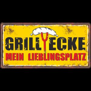 Metallschild-Blechschild-Grillschild-Grillecke-Maennerschild-Grillen-BBQschild-Hinweisschild-AV-Andrea-Verlag-andrea-geschenke.de