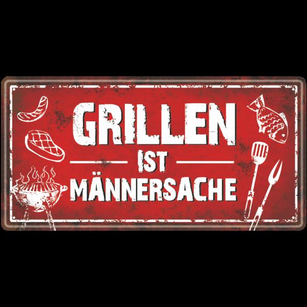 Metallschild-Blechschild-Grillschild-Maennersache-Maennerschild-Grillen-BBQschild-Hinweisschild-AV-Andrea-Verlag-andrea-geschenke.de