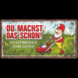 Metallschild-Blechschild-Rasenmaeher-Garten-Gartenschild-Hinweisschild-Gaertner-AV-Andrea-Verlag-andrea-geschenke.de