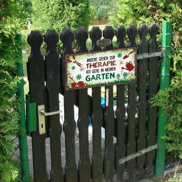 Metallschild-Garten-Therapie-Gartengeschenk-Geschenk-fuer-Gaertner-Schild-fuer-Garten-Gartenliebe-Lieblingsplatz-andrea-geschenke.de