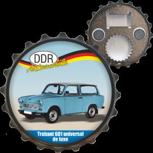 Ostalgie Flaschenöffner Öffner mit Spruch - Trabant 601 Universal de luxe - der DDR Bieröffner Kapselöffner Kapselheber AV Andrea Verlag andrea-geschenke.de