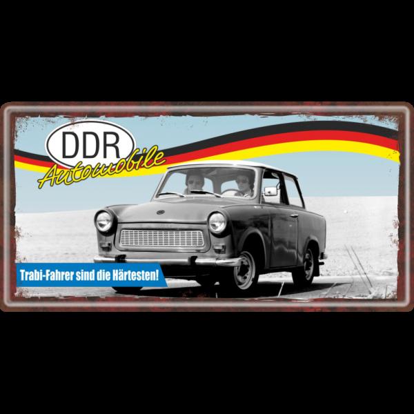 Ostalgie Metallschild - Trabi Fahrer sind die Härtesten! - DDR Automobile Ostprodukte Ossi Schild Türschild Schild Blechschild Ost Produkt nostalgie AV Andrea Verlag www.andrea-geschenke.de
