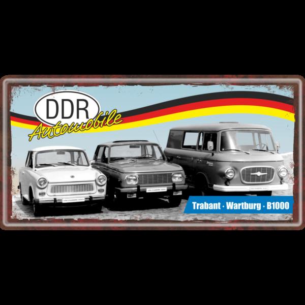 Ostalgie Metallschild - Trabi Wartburg Barkas B1000 - DDR Automobile Ostprodukte Ossi Schild Türschild Schild Blechschild Ost Produkt nostalgie AV Andrea Verlag www.andrea-geschenke.de