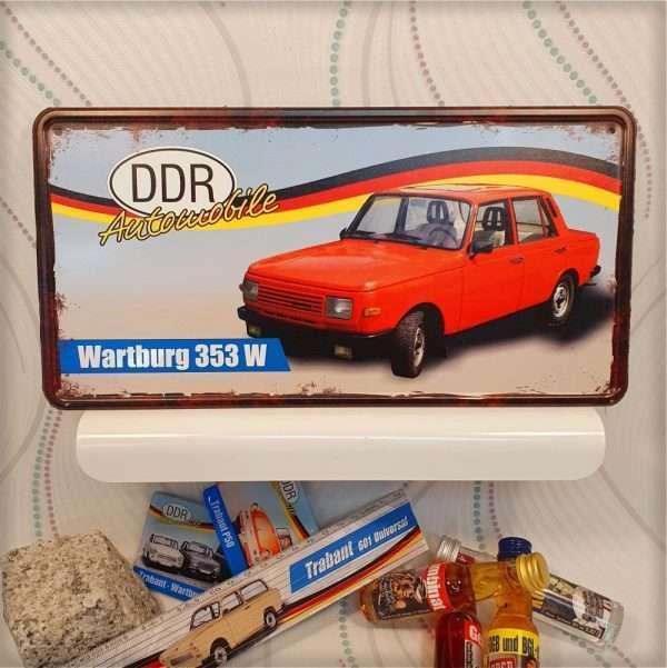 Ostalgie Metallschild - Wartsburg 353 W - DDR Automobile Ostprodukte Ossi Schild Türschild Schild Blechschild Ost Produkt nostalgie AV Andrea Verlag www.andrea-geschenke.de