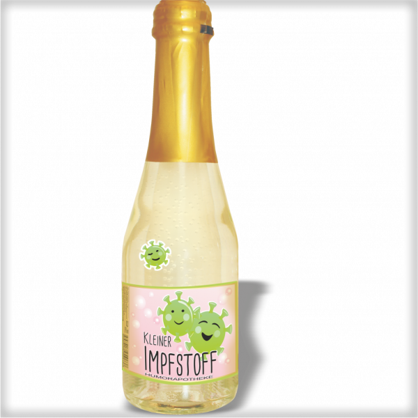 Piccolo Kleiner Corona Impfstoff Piccolo Beeren Perlwein 2 Motive andrea-geschenke.de AV Andrea Verlag Humor Apotheke einzeln1