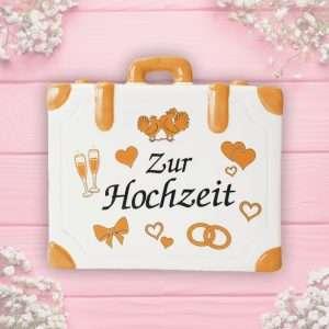 Sparbüchse Spardose Sparschwein Koffer Geschenk - Zur Hochzeit - Reisekoffer just married Hochzeitsgeschenk Geldgeschenk AV Andrea Verlag andrea-geschenke.de
