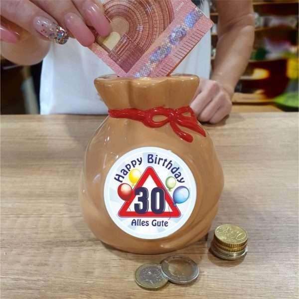 Spardose-Sparschwein-zum-30.-Geburtstag-Geld-Sack-Happy-Birthday-andrea-geschenke.de-AV-Andrea-Verlag