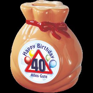 Spardose-Sparschwein-zum-40.-Geburtstag-Geld-Sack-Happy-Birthday-andrea-geschenke.de-AV-Andrea-Verlag
