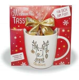 Süße Weihnachtstasse - Rentier - Kaffeetasse und Schokolade mit Geschenkverpackung zu Weihnachten. Beidseitig mit Gold bedruckt AV Andrea Verlag andrea-geschenke.de