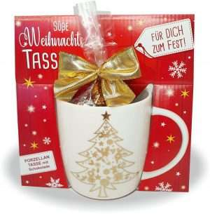 Süße Weihnachtstasse - Weihnachtsbaum - Kaffeetasse und Schokolade mit Geschenkverpackung zu Weihnachten. Beidseitig mit Gold bedruckt AV Andrea Verlag andrea-geschenke.de